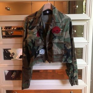 cropped army jacket with flower patches